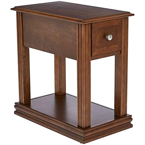 Ball & Cast Virginia Rectangular Wood End Table with Drawer, Brown Spice