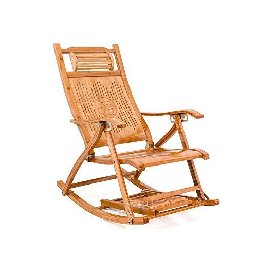 GFE Klappbarer Bambus-Schaukelstuhl, Verstellbarer 5-Gang-Liegestuhl, mit Fußmassagebrett, Camping-Strandliege im Freien,B