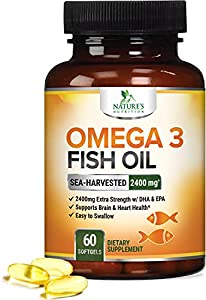 Omega 3: Formulated with 2400mg overall Fish Oil containing essential fatty acids to support heart health Triple Strength: Our Omega-3 Fish Oil delivers 1440mg of Omega3 in every serving including 864mg EPA & 576mg DHA Naturally Green: Nature's Nutri...