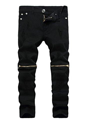 Kihatwin Calça jeans rasgada skinny casual para meninos slim fit com zíper envelhecido e orifícios, Preto, 12 Slim