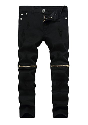 Kihatwin Boy's Skinny Ripped Jeans Slim Fit Distressed Zipper Pants with Holes Black 10
