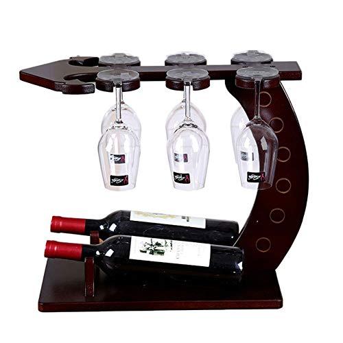 HOMERACK Wijnrek van hout wijnglashouder creatieve ankervorm wijnfleshouder vrijstaand wijnrek wijnglas-frame voor 2 flessen en 6 wijnglazen, eenvoudig op te zetten CHIEEN