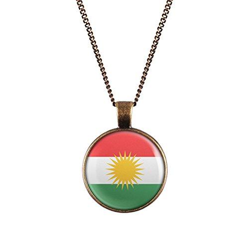 WeAreAwesome Kurdistan Flagge Halskette - Länderkette mit Fahne Anhänger Unisex Kette Kurden