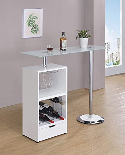 Coaster Home Furnishings CO- Bar Table W/Wine Storage, White