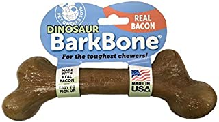 Pet Qwerks REAL BACON Infused Dinosaur BarkBone - Durable Dog Toy for Aggressive Chewers, Tough Indestructible Power Chewe...