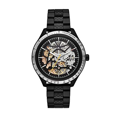 Michael Kors Men's Merrick Automatic-self-Wind Watch with Stainless-Steel-Plated Strap, Black, 20 (Model: MK9038)