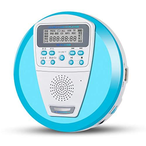 WSY Tragbarer wiederaufladbarer CD-Player, englischer CD-Player Eingebauter Lautsprecher & Anti-Shock/ESP mit LCD-Display, für Audio-CD- und MP3-Unterstützung U-Disk & TF-Karte,B