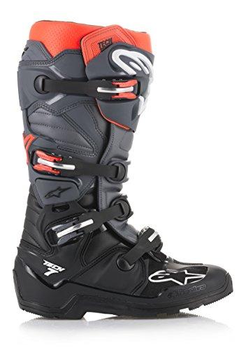 Alpinestars 2012114-1133-12 Unisex-Erwachsene Tech 7 Enduro Stiefel, Schwarz/Grau/Rot, Größe 47 (Mehrfarbig, Einheitsgröße