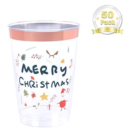 LOMOFI 350 ml Vasos de Plástico Reciclables, con Elementos navideños, 50 Vasos de Plástico Duro Transparente -...