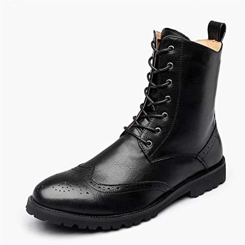 JiuRui Oxfords de Negocios y Casuales Zapatos de tacón Alto Antideslizantes Botas Oxford y Derby for Hombres, Zapatos de Cuero de Microfibra con Cordones, Tallado en Punta de Brogue con Punta Redonda