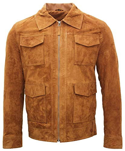 Infinity Leather Herren Safari Bräunen 100% Ziegenveloursleder Harrington Jacke XS
