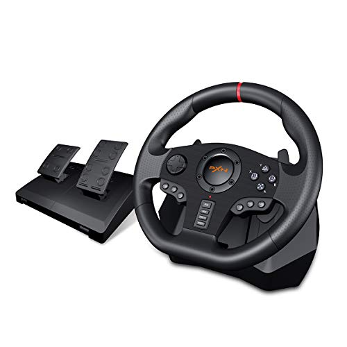 P V900 PC Gaming Racing Steering Wheel, Universal Usb Car Sim 270/900 degree Race Steering Wheel with Pedals for PS3, PS4, PS4 Slim, PS4 ProXbox One,Xbox 360 Nintendo Switch