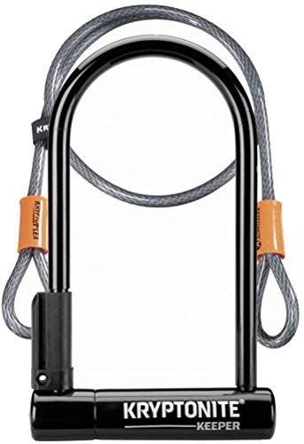 Kryptonite Keeper Standard 12mm U-Lock Bicycle Lock with FlexFrame-U Bracket & KryptoFlex 410 10mm Looped Bike Security Cable