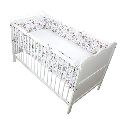 TupTam Baby Nestchen für Babybett Gemustert, Farbe: Wilde Tiere, Größe: 420x30cm (für Babybett 140x70)