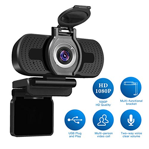 LarmTek 1080P Full HD Webcam with Webcam Cover,Computer Laptop Camera for Conference and Video Call, Pro Stream Webcam with Plug and Play Video Calling,Built-in Mic