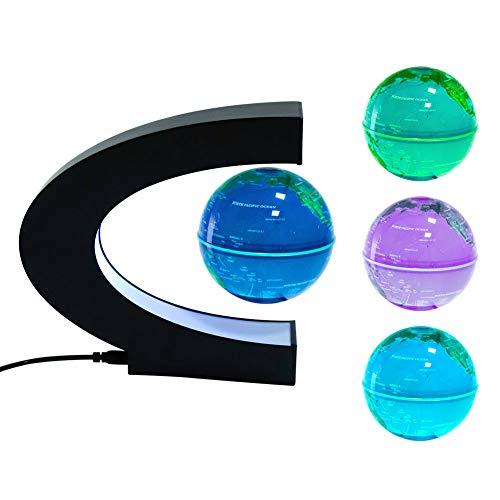 "3"" Magnetic Floating Globe LED Light, Desk Gadget Decor, Cool Tech Gifts for Men/Father/Husband/Boyfriend/Kids/Boss"