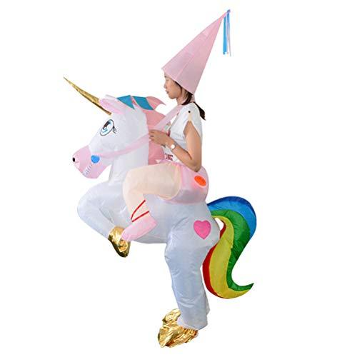 Amosfun Aufblasbare Einhorn Reiter Kostüm Halloween Blow up Einhorn Kostüm für Kinder Kinder Party Cosplay Kostüm
