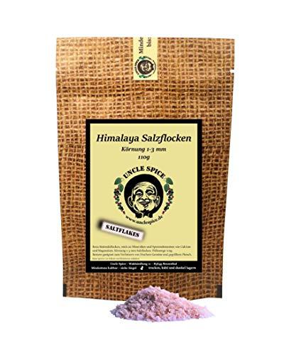 Uncle Spice rosa Himalaya Salzflocken, 110g pink Himalayasalz aus Pakistan, Steinsalz, Kristall-Salzflocken reich an Mineralien, feines Salz ideal für Steaks, pink salt, Geschenkidee