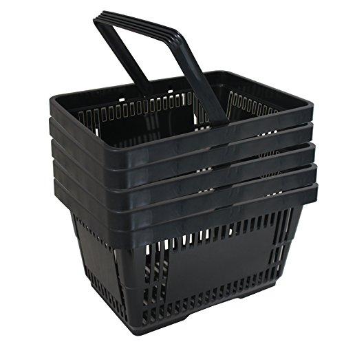 5 Einkaufskörbe aus Kunststoff Plastik mit Henkel 20 Liter 40cm stapelbar schwarz