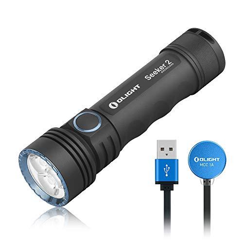 OLIGHT SEEKER 2 LED Taschenlampe 3000 Lumen Max. 15 Tage Laufzeit 220 Meter Reichweite inkl. 5000mAh Batterie 5 Beleuchtungsmodi für Campen, Wandern, Fahrradfahren