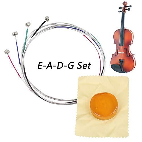 Vollständiger Saiten-Satz für Violine, für Größen 4/4 und 3/4 Stahlsaiten, Rostfreies und langlebiges Zubehör für Musikinstrumente, 1pcs Bogen Kolophonium für Violine