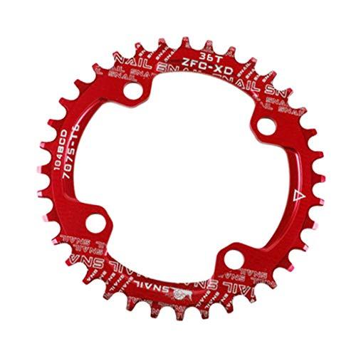 CUTICATE Fahrradkettenring 104 BCD Single Speed Kettenblatt 32T 34T 36T 38T - Rot, 32T