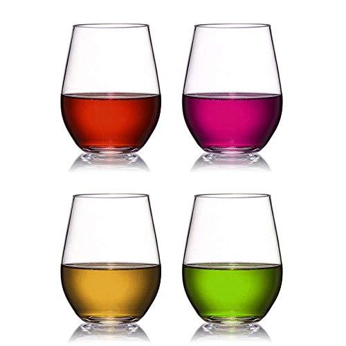 Kunststoff Weingläser Set von 4 Rot Weißwein Stemless Glas unzerbrechlich Wiederverwendbare bruchsicher 16oz 450ml Gläser für Parteien, Hochzeiten, Camping Besser als Polycarbonat Gläser