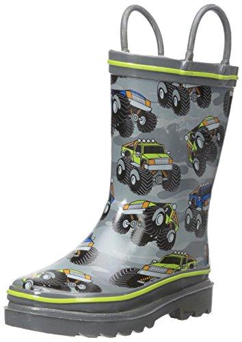 Western Chief Boys Waterproof Printed Rain Boot with Easy Pull On Handles, Monster Crusher, 12 M US Little Kid