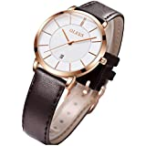 OLEVS Women's Watches for Ladies Female Wrist Watch White Dial Dark Brown Leather Band Waterproof Big Face Thin Minimalist Fashion Casual Simple Dress Quartz Analog Classic Gifts with Date Calendar