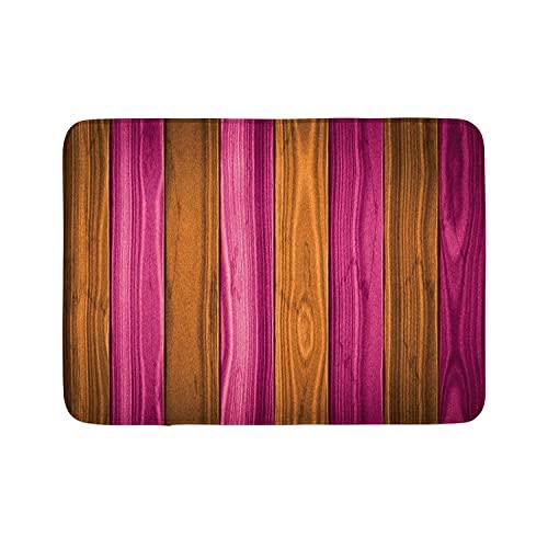 Tappetino da bagno rustico, con bordo verticale in legno, motivo casetta in campagna, tappetino decorativo per il bagno, con retro antiscivolo, 40 x 60 cm, colore: Magenta