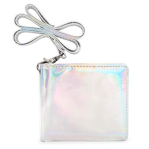 STEAMEDBUN Clear Jelly Wallet for Women Girls Laser Bifold Purses for Photocards Glitter PVC Transparent Lanyard Wallet Card Case Gift