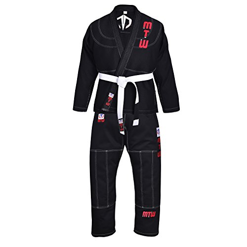 Jiu Jitsu Brazilian GI Jiu Jitsu Lightweight Premium Uniform with Free Belt (Black, A1)