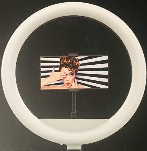 BISEN 13inc LED Tri-pod redes sociales anillo de luz con soporte para teléfono 3 modos de luz de color regulable 0-100% para maquillaje fotografía streaming lámpara de iluminación