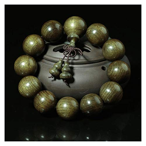 WSJKL Budismo Tibetano Pulsera de Madera Natural Carburo Verde Hombres Big Beads Pulsera Joyería (Color : Beads 20mm)