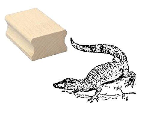 Stempel houten stempel motiefstempel « krokodil op de zee » scrapbooking - embossing kinderstempel dierstempel alligator reptielen