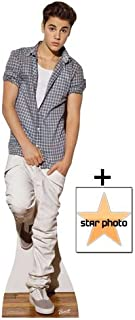 FAN PACK - Justin Bieber wearing Check Shirt Lifesize Cardboard Cutout / Standee - INCLUDES 8X10 (25X20CM) STAR PHOTO - FAN PACK #371