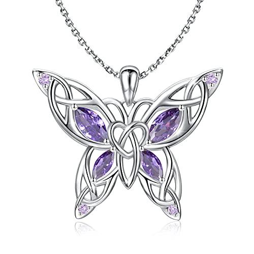 Sterling Silver Butterfly Necklace - Celtic Jewelry Gifts for Women Butterfly Lovers (Purple Butterfly)