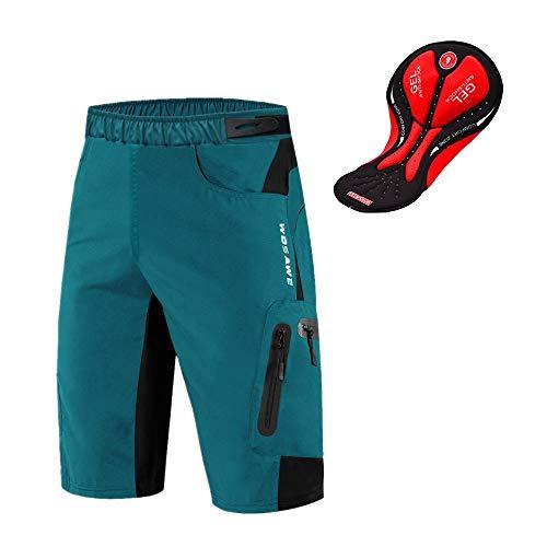 WOSAWE Pantalones Cortos de Ciclismo para Hombre Transpirable Gel 3D Acolchada Sueltos MTB Ropa Interior Pantalones (Navy XXXL)