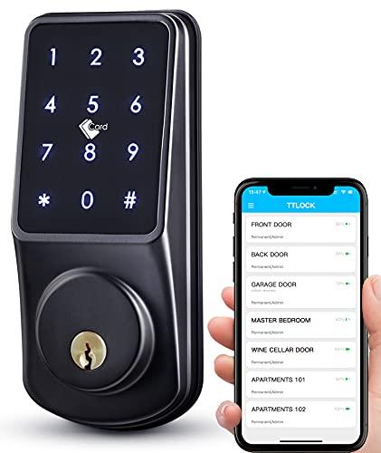 Nyckellös dörrlås skjutlås med knappsats, låsa upp via APP, kod, IC-kort, mekanisk nyckel för smart hem ytterdörr, sovrumsdörr cerradura inteligente presenter för fars dag