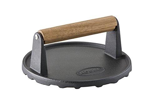 RÖSLE Barbecue-Gewicht, Hochwertiges Gewicht zum schnelleren Garen von Burgern oder Steaks, Gusseisen, Holzgriff, 17,5 cm