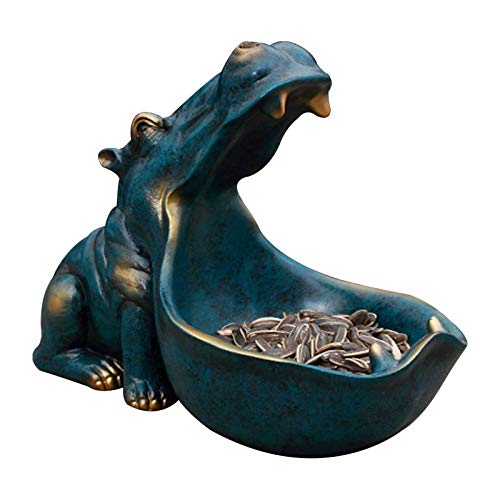 rcraftn Boca Grande Hipopótamo Almacenamiento Resina Decoración Vino Gabinete Zapatero Entrada Llave Artesanías De Almacenamiento