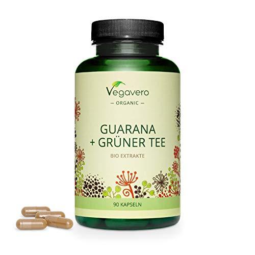 Guaraná + Té Verde Orgánico Vegavero® | Con 104 mg de Cafeína | 25% Polifenoles | 90 Cápsulas | Détox + Quema Grasas Natural & Acelerador de Metabolismo | BIO