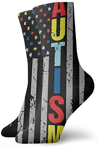 Athletic/Sport Sock,Casual Socks,Compression Socks,Crew Socks,Puzzle Piece American Flag Moisture Control Running Socks Durable Breathable Training Socks