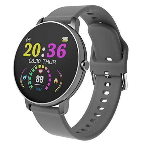 LXF JIAJU Smart Watch Women Women Touch Full Touch Redondo Monitor De Ritmo Cardíaco Redondo Presión Arterial Smartwatch para Apple Android Xiaomi Teléfono PK Iwo (Color : P8 Gray)