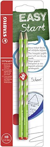 Schmaler Dreikant-Bleistift für Rechtshänder - STABILO EASYgraph S in grün - 2er Pack - Härtegrad HB