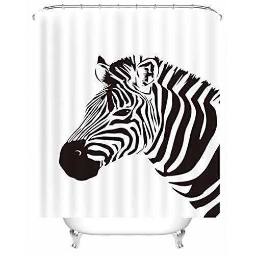 X-Labor Tier Motiv Duschvorhang Wasserdicht Stoff Anti-Schimmel inkl. 12 Duschvorhangringe Waschbar Badewannevorhang 240x200cm Zebra