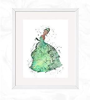 Princess Tiana Prints, The Princess and the Frog Disney Watercolor, Nursery Wall Poster, Holiday Gift, Kids and Children Artworks, Digital Illustration Art