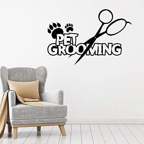 HGFDHG Calcomanía de Pared para el Aseo de Mascotas, Tijeras de Pata de Animal de Servicio, Pegatina de Vinilo para Ventana, Tienda de Mascotas, Mural de Arte Decorativo de Pared