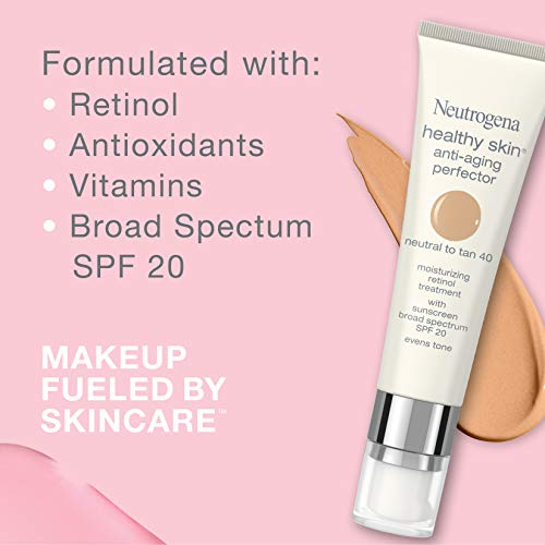 41RZsDpNbWL - Neutrogena Healthy Skin Anti-Aging Perfector Tinted Facial Moisturizer and Retinol Treatment with Broad Spectrum SPF 20 Sunscreen with Titanium Dioxide, 30 Light to Neutral, 1 fl. oz