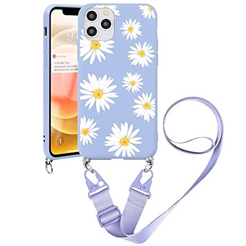 Yoedge Custodia con Cordino compatibile con Apple iPhone 11 Pro 5,8', Cover con Cinturino Regolabile, Ultra Sottile Morbido Silicone Antiurto Bumper Protettiva Case per iPhone 11 Pro, Fiore 5